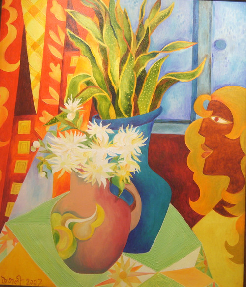 By the window (ART_6678_38719) - Handpainted Art Painting - 30in X 35in