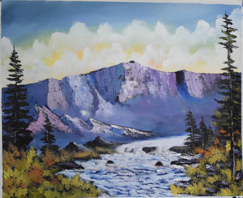 Canyon waterflow (ART_6698_38708) - Handpainted Art Painting - 22in X 18in