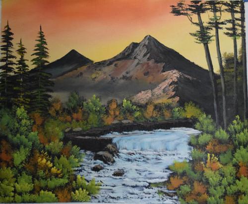 Waterfall (ART_6698_38706) - Handpainted Art Painting - 22in X 18in