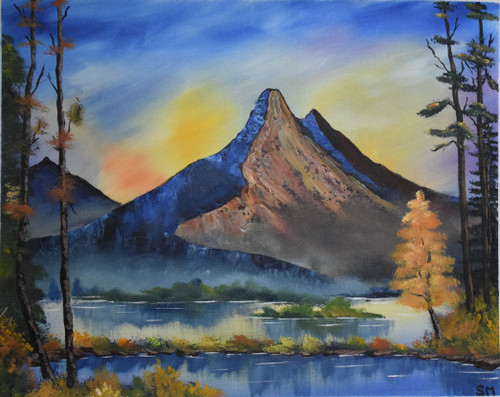 Evening mountain (ART_6698_38701) - Handpainted Art Painting - 22in X 18in