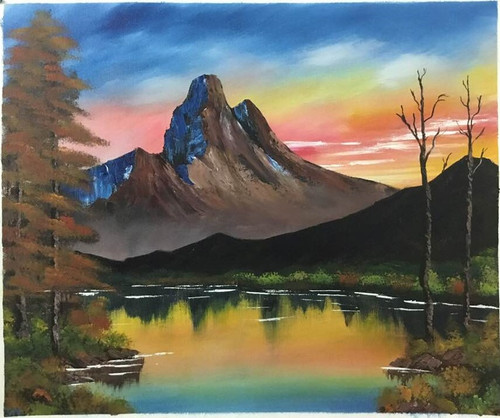 Morning mountain (ART_6698_38696) - Handpainted Art Painting - 19in X 17in