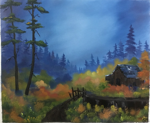 Lonely cabin (ART_6698_38695) - Handpainted Art Painting - 20in X 16in