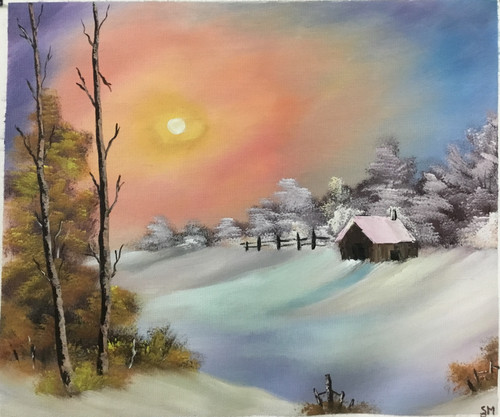 Morning snow (ART_6698_38694) - Handpainted Art Painting - 20in X 16in