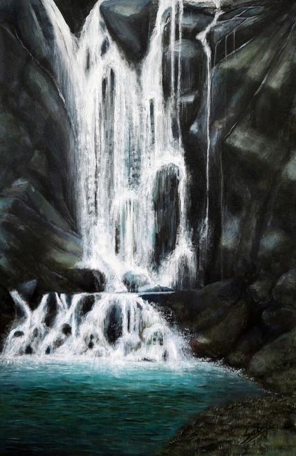 Waterfall (ART_464_19689) - Handpainted Art Painting - 20in X 32in