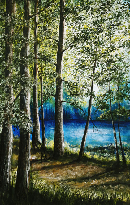 Lakeview (ART_464_19682) - Handpainted Art Painting - 20in X 32in