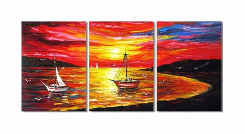 sea, seascape, landscape, sun ,sunset, boat, boats, boats in sea, boats during sunset, sea at sunset