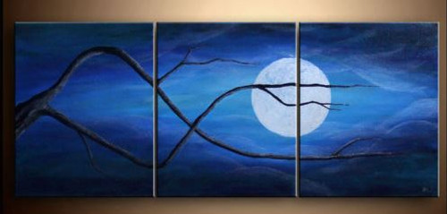 moon, night, tree,forest, tree at night, moon painting, clouds, moon behind clouds, moon behind tree