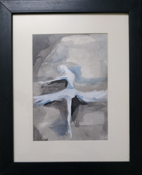 Dancing Girl (ART_5814_39179) - Handpainted Art Painting - 13in X 16in (Framed)