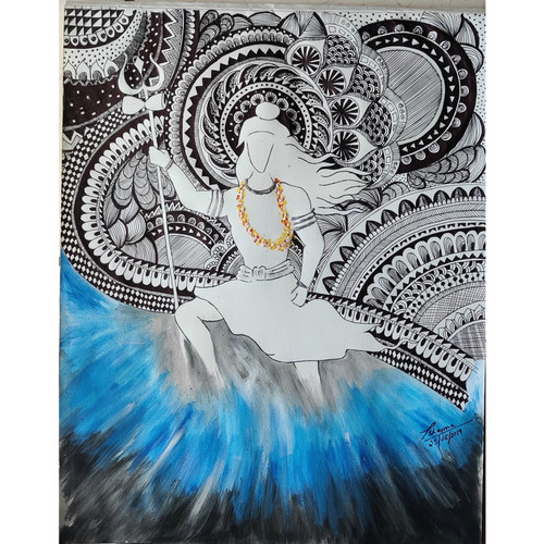 Mahadev (ART_6565_39331) - Handpainted Art Painting - 11in X 15in