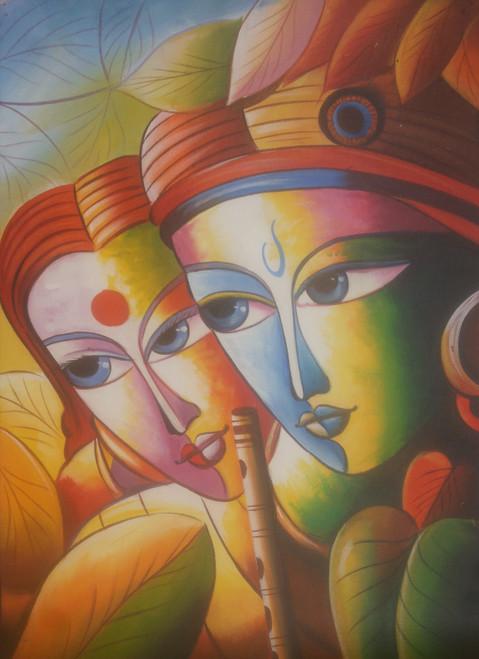 Lord Krishna painting (ART_6706_39438) - Handpainted Art Painting - 24in X  36in