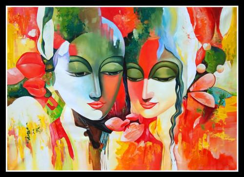 Lord Krishna painting (ART_6706_39434) - Handpainted Art Painting - 36in X  24in
