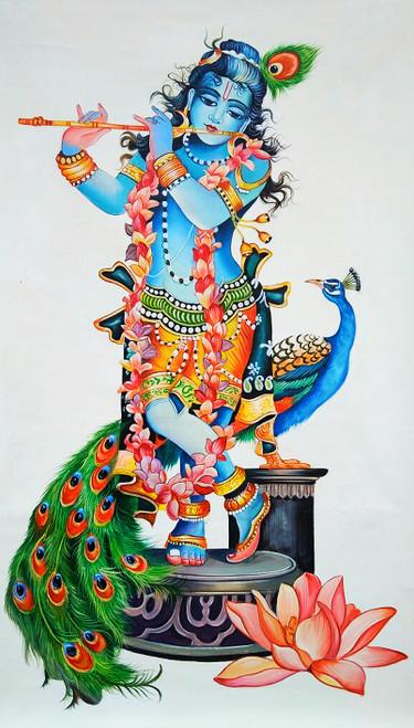 Lord Krishna painting (ART_6706_39502) - Handpainted Art Painting - 24in X  36in