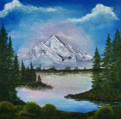 Landscape (ART_6769_39266) - Handpainted Art Painting - 18in X 18in