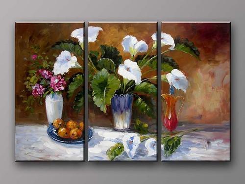 flower, flowers, flower vase, three vases, lilies, lily, still life, still life flower, still life vase