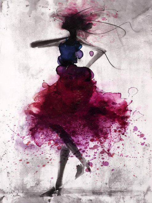 Dancing Lady Abstract01 (PRT_1282) - Canvas Art Print - 27in X 36in