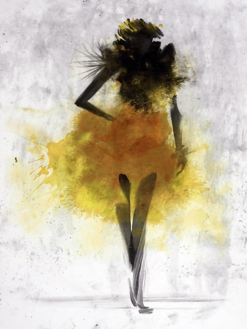 Dancing Lady Abstract03 (PRT_1284) - Canvas Art Print - 27in X 36in