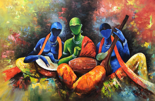 Modern art musician painting  (ART_6706_40471) - Handpainted Art Painting - 36in X 24in