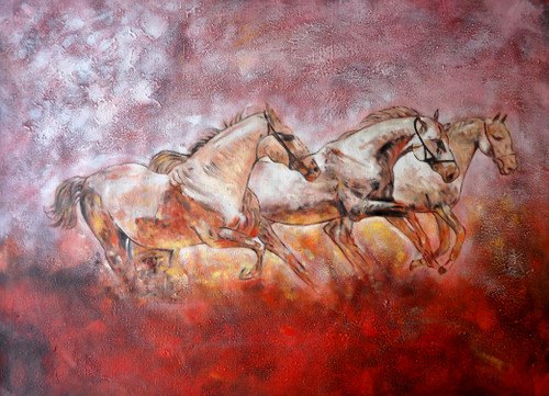 25Horse09 - 30in X 20in,25Horse09_3020,Red, Pink, Orange,Rs.3290,Latest Collection;Equestrian Art and Wildlife;Horse,Race,By Orientation and Size/Horizontal/Medium (25in to 32in);Horses,Horse,Speed,Full Collection
