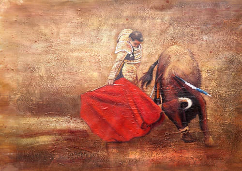 25Matador05 - 30in X 20in,25Matador05_3020,Race,Human,Canvas,Oil Colors,Yellow,Brown,Rs.2990,Modern Art;Figurative;Latest Collection;By Orientation and Size/Horizontal/Medium (25in to 32in);Full Collection,Community Artists Group,Museum Quality - 100