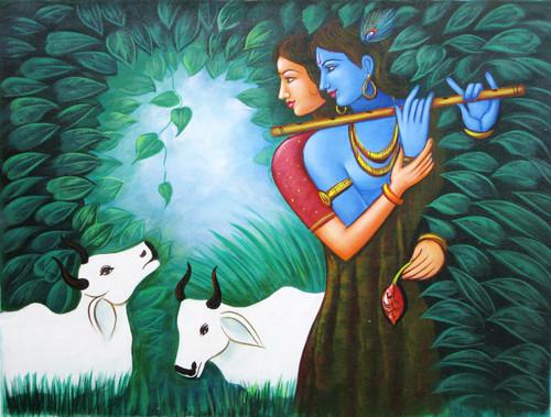 Radha,Krishna,Krishna Playing Music,Love,
