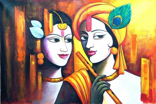 Radha Shyam with Basari01 - 36in X 24in,RAJMER33_3624,Acrylic Colors,God,Radha Krishna,Shyam Radha,Nadalal,Gopi - Buy Paintings online in India