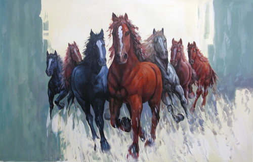 7 Good Luck Horses Rajmer05 - 36in X 24in,RAJVEN27_3624,Acrylic Colors,Horses,Graces,Race,Achiever,Racing - Buy Paintings online in India