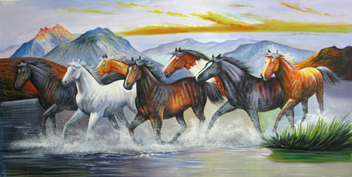 horse, horses, running horses, horses in water, horses running in water, water, river, mountain