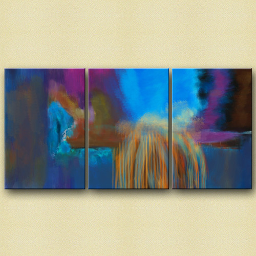 28GRP37 - 48in X 24in (16in X 24in each X 3 pcs),Abstract Art,28GRP37_4824,Canvas,Blue,Oil Colors, Violet, Mauve,Rs.2490,Abstract;Multi Piece;Latest Collection;By Orientation and Size/Horizontal/X.Large (41in to 50in);Full Collection,Community Artist