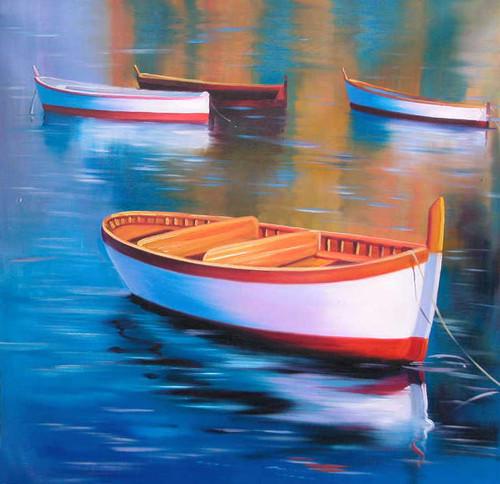 Beautiful Sea,Sea Shore,Beauty of Sea,Ships,Red ,Blue Ship,Boats