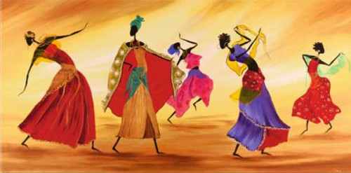 African Dance - Handpainted Art Painting - 48in X 24in