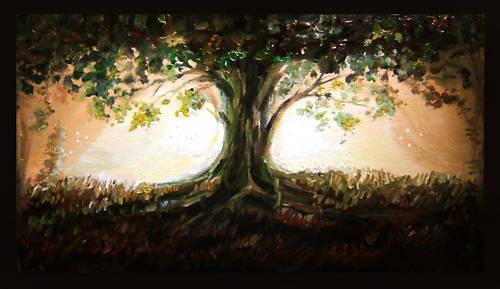Banyan Tree - Handpainted Art Painting - 48in X 28in