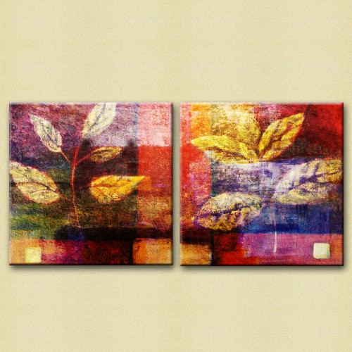 31GRP165 - 40in X 20in (20in X 20in each X 2 pcs.),Flower,Floral,31GRP165_4020,Canvas,Oil Colors,Red, Pink, Orange,Rs.2990,Florals;Multi Piece;Latest Collection;By Orientation and Size/Horizontal/Large (33in to 40in);Full Collection,Museum Quality -
