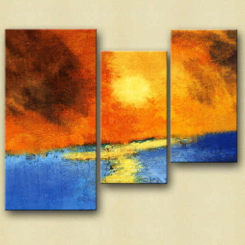 31GRP176 - 40in X 36in (16in X 36in X 1 pc) + (12in X 24in X 2 pcs),Canvas,Oil Colors,31GRP176_4036,Yellow, Brown,Rs.4190,Landscape and Seascape;Multi Piece;Latest Collection;By Orientation and Size/Horizontal/Large (33in to 40in);Full Collection,Mul