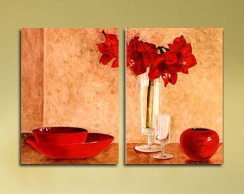 abstract, flower, red flower, flower vase, plate, dinner, multipiece, glass, wine glass, red