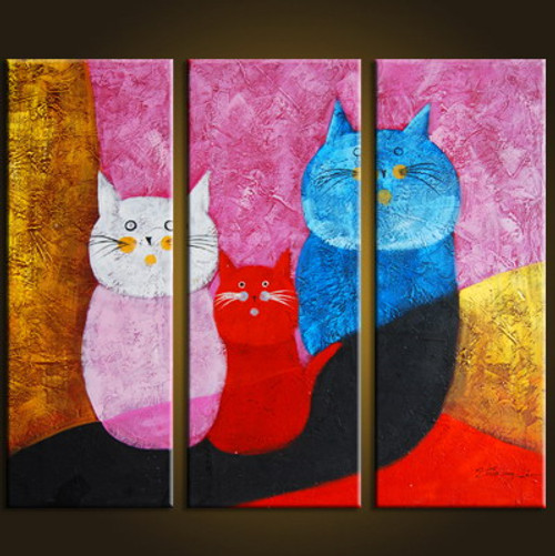 family, cat, kitten, cats, family of cats, multipiece cat painting
