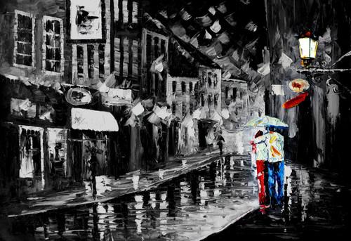 couple, rain, city, road, couple in rain, rainy day in city, shops, light pole, umbrella, couple with umbrella, black and white
