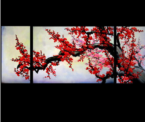 flower, flowers, red flower , blossom, multi piece blossom, multi piece red flower, tree, tree with red flower
