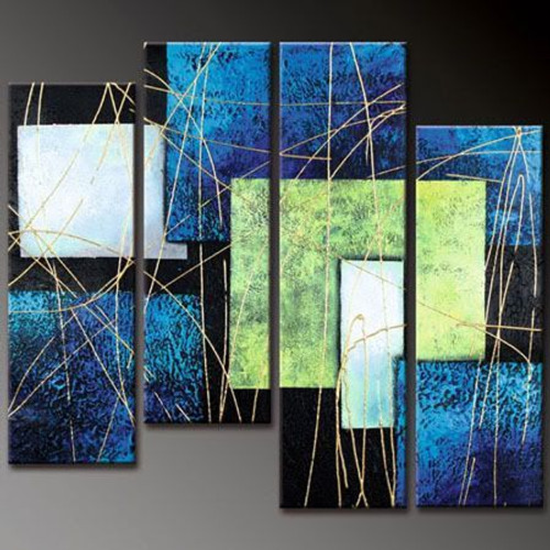 multi piece, multi piece texture, blue abstract, lines, strokes, squares, abstract, gold