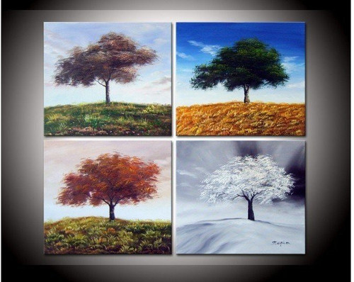 tree, trees, multi piece tree, seasons, autumn, summer, winter, snow, white, tree in seasons