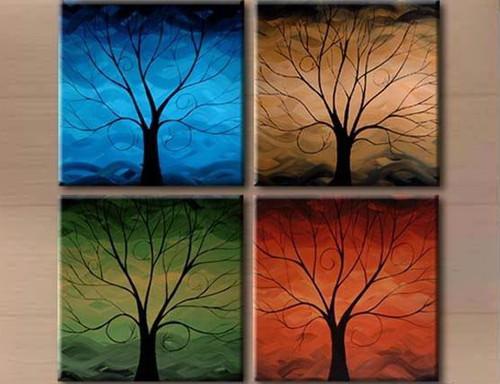 tree, one tree, blue, red, browm, green, muti piece tree, lonely tree