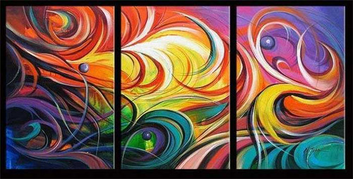 Beautiful Thoughts - Handpainted Art Painting - 48in X 24in (16in X 24in each X 3pc)