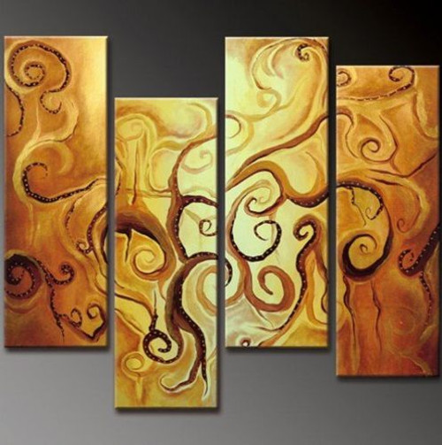 abstract, multi piece abstract, illusion, yellow