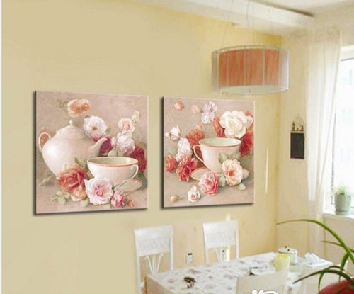 Tea and Roses - 48in x 24in (24in x 24in each X 2pc),Oil Colors,Canvas,RTCS_8_4824,Museum Quality - 100% Handpainted,Multipiece,Pots,Tea Pots,Tea pots with Roses,Morning Tea Cup,Fresh Morning - Buy Painting Online in India.