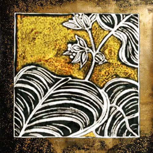DesignedLeaves - 32in X 32in,31Gold18_3232,Yellow, Brown,80X80,Gold and Silver Art Canvas Painting