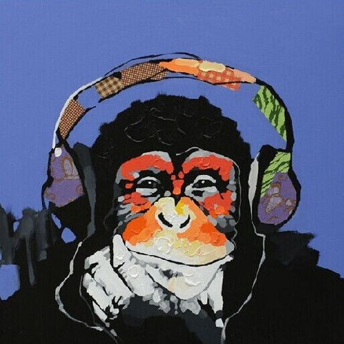 Image result for monkey listening to music