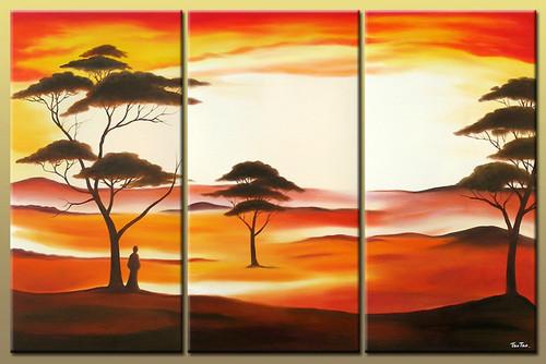 landscape, desert, man in desert, desert painting, tree, trees, man with trees, sunset, sunrise