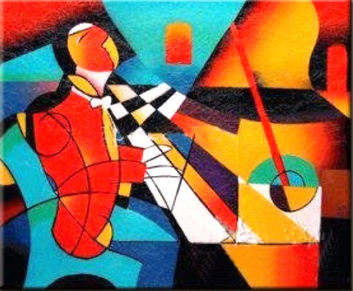 Music 5 - 36in X 24in,RTCS_22_3624,Oil Colors,Canvas,Music,Art,Sound,Community Artists Group,Museum Quality - 100% Handpainted