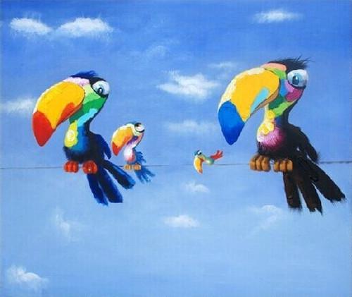 Bird,Colorful Bird,Birds With Blue Sky,Four Birds