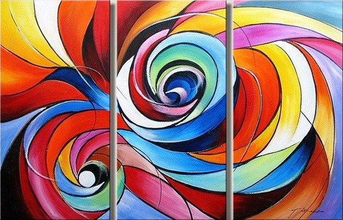 Revolving Karma - 48in x 32in (16in x 32in X 3pc),Multipiece,RTCS_32_4832,Oil Colors,Canvas,48in X 32in (16in x 32in x 3pc),Museum Quality - 100% Handpainted