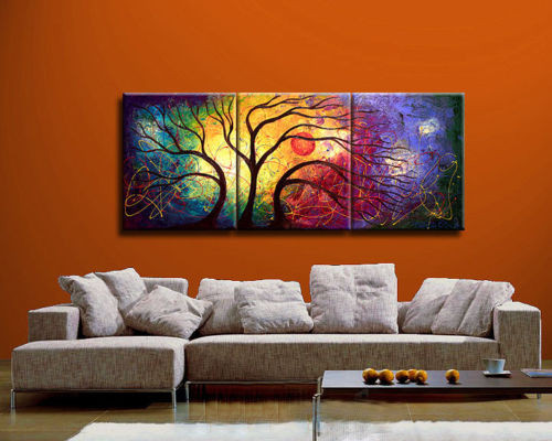 tree, abstract, abstract tree, tree with multicolor background, sun, tree with sun in background, multi color , multi piece tree